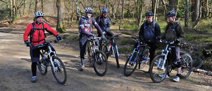 A group of students on a Singletrack Skills course